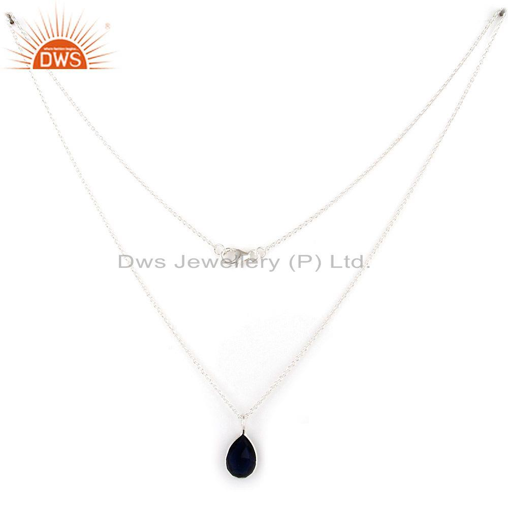 Suppliers 925 Sterling Silver Natural Blue Corundum Bezel Set Pendant With Chain