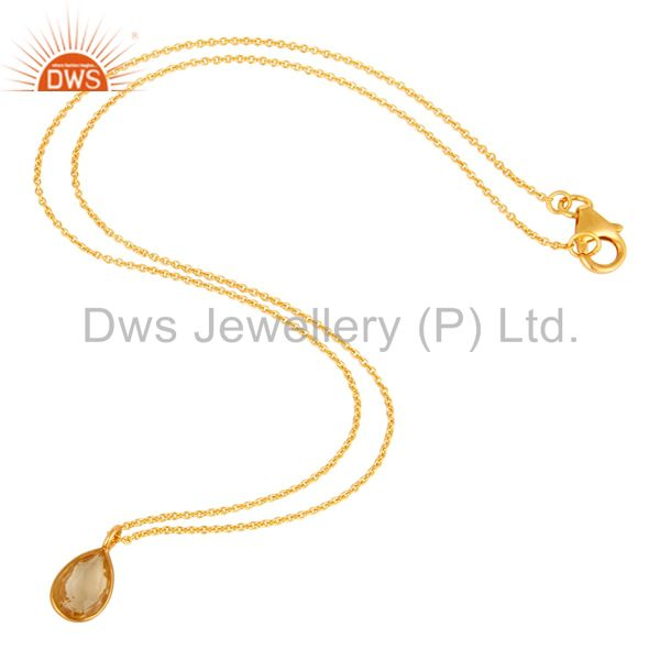 Suppliers 18K Yellow Gold Plated Sterling Silver Bezel Set Citrine Pendant With Chain