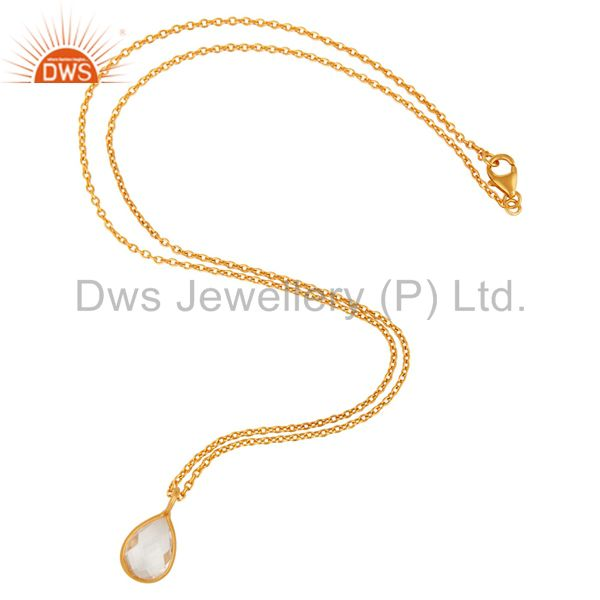 Suppliers 18K Yellow Gold Plated Sterling Silver Crystal Quartz Gemstone Drop Pendant
