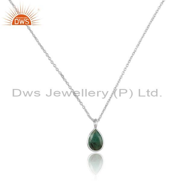 Tear drop emerald set fine sterling silver pendant and chain