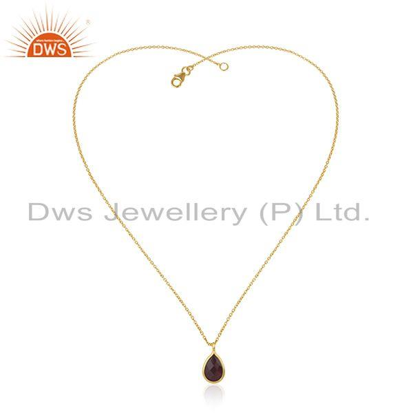 Exporter Garnet Gemstone 925 Silver Yellow Gold Plated Chain Pendant Manufacturer INdia