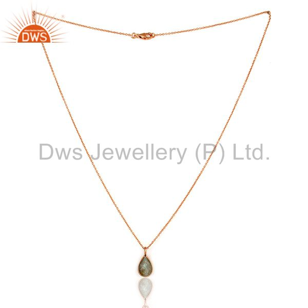Suppliers 18K Rose Gold Plated Sterling Silver Labradorite Bezel Set Pendant With Chain