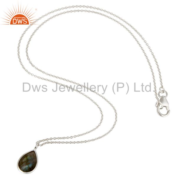 Suppliers Solid 925 Sterling Silver Labradorite Gemstone Bezel Set Pendant With Chain