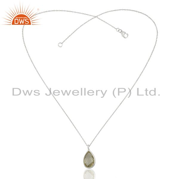 Exporter Lemon Topaz Gemstone 925 Silver Chain Pendant Jewelry Manufacturers