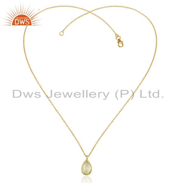 Exporter Lemon Topaz Simple Drop Gold Plated Sterling Silver Wholesale Pendent Jewelry