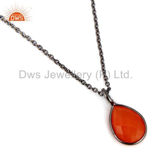 Exporter Black Rhodium Plated Sterling Silver Peach Moonstone Bezel Set Pendant With Chai
