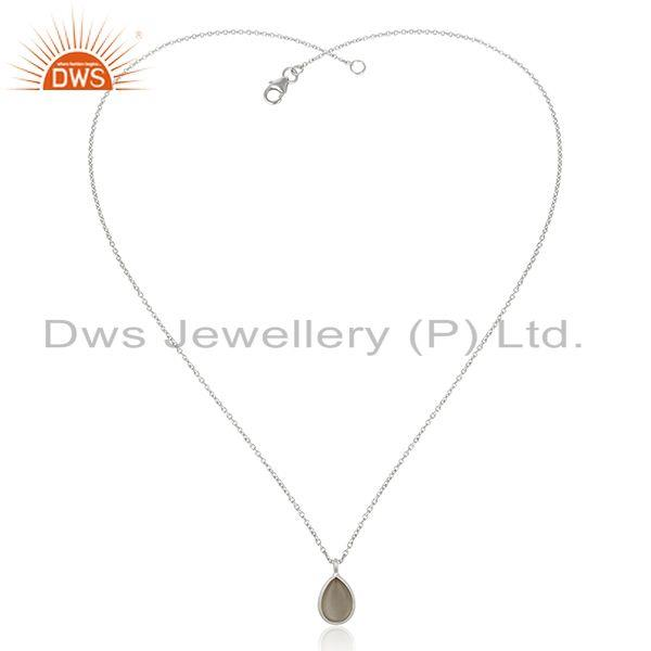 Exporter Grey Moonstone Bezel Set Gemstone Fine Sterling Silver Chain Pendant Manufacture