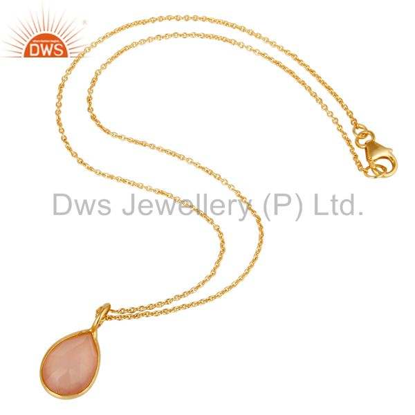 Suppliers 18K Yellow Gold Plated Sterling Silver Rose Chalcedony Stone Pendant With Chain