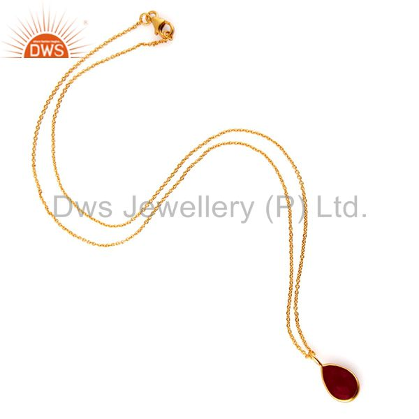 Exporter 18K Yellow Gold Plated Sterling Silver Dyed Ruby Drop Pendant With Chain