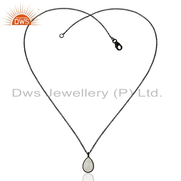 Exporter Rainbow Moonstone Black Oxidized Sterling Silver Chain Pendant Necklace Jewelry