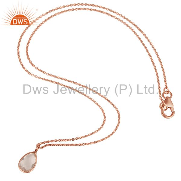 Suppliers 18K Rose Gold Plated Sterling Silver Bezel Set Crystal Quartz Pendant With Chain