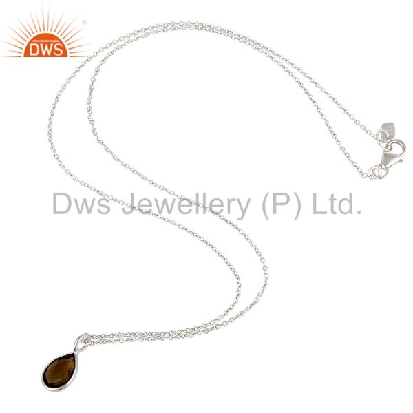 Suppliers 925 Sterling Silver Smoky Quartz Gemstone Bezel Set Drop Pendant With Chain