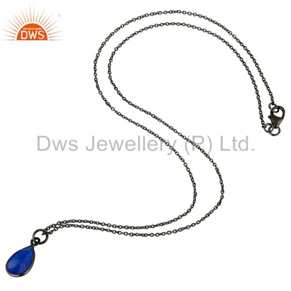 Suppliers Oxidized Sterling Silver Faceted Blue Aventurine Bezel Set Drop Pendant Necklace