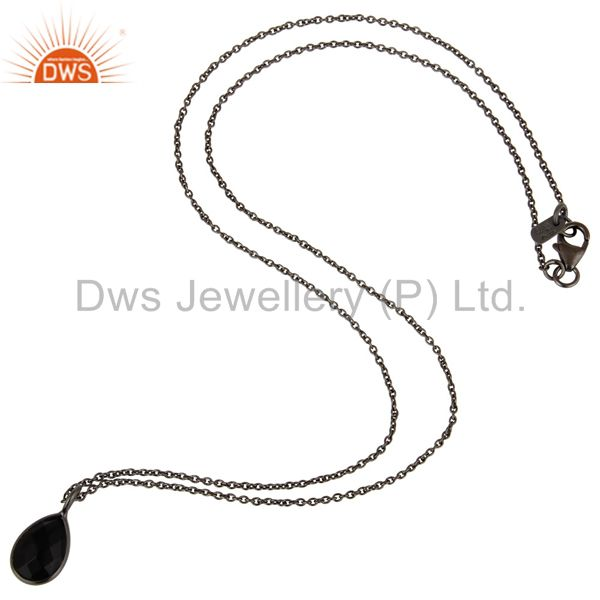 Exporter Black Oxidized 925 Sterling Silver Black Onyx Drop Pendant With 18