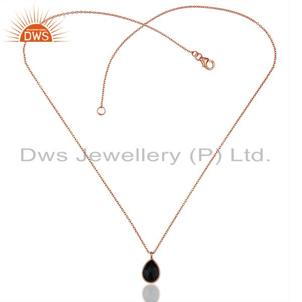 Exporter Black Onyx Gemstone 925 Silver Rose Gold Plated Chain Pendant