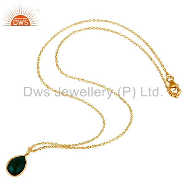Suppliers 18k Gold Plated Sterling Silver Green Onyx Bezel Set Chain Pendant Necklace