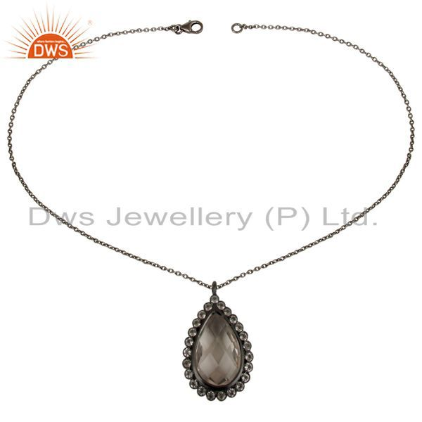 Exporter Black Oxidized 925 Sterling Silver Crystal Quartz & White Topaz Chain Pendant