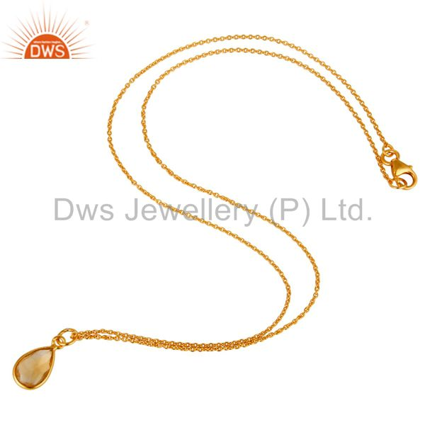 Suppliers 18K Yellow Gold Plated Sterling Silver Citrine Bezel Set Drop Pendant With Chain