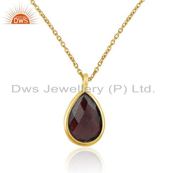 Manufacturer of Natural Garnet Gemstone Handmade 925 Silver Gold Plated Chain Pendant