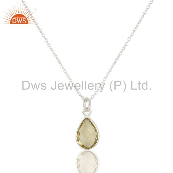 Suppliers Lemon Topaz and Sterling Silver Gemstone Handmade Necklace