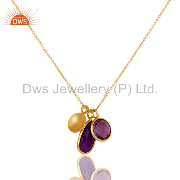 Wholesalers 18K Yellow Gold Plated Sterling Silver Amethyst And Purple Chalcedony Necklace