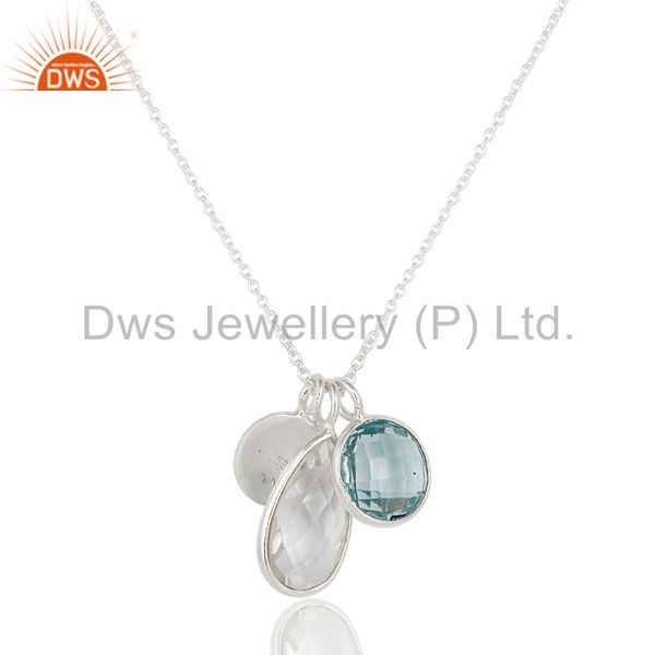 Wholesalers Solid 925 Sterling Silver Blue Topaz & Crystal Quartz Bezel Set Chain Pendant