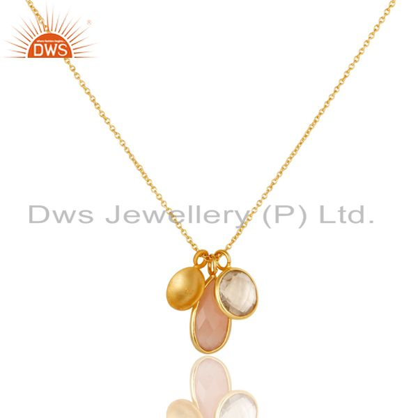 Wholesalers 18K Yellow Gold Plated Silver Crystal Quartz & Rose Chalcedony Pendant Necklace