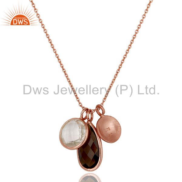 Wholesalers 18K Rose Gold Plated Sterling Silver Crystal Quartz And Smoky Pendant With Chain