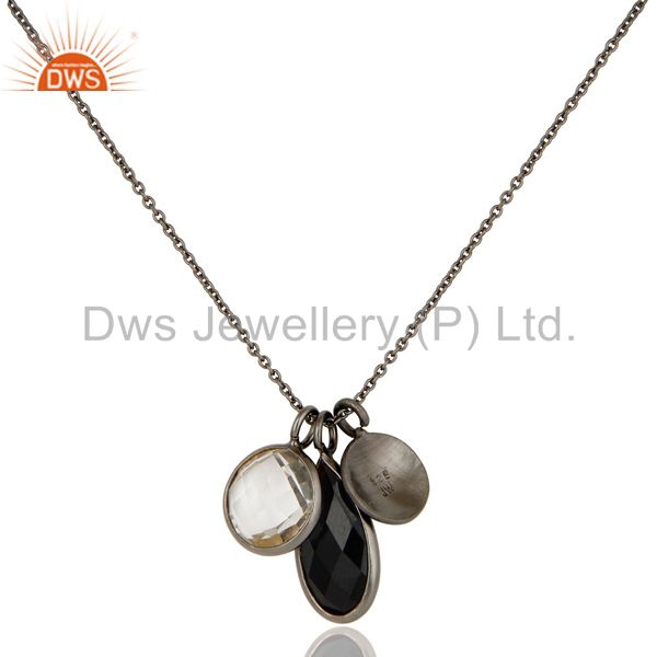 Wholesalers Oxidized Sterling Silver Crystal Quartz And Black Onyx Drop Pendant With Chain