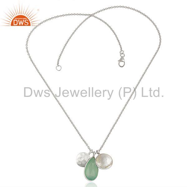 Exporter Multi Gemstone Solid 925 Silver Chain Charm Pendant Manufacturer