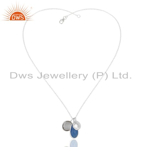 Exporter Multi Gemstone 925 Sterling Silver Chain Pendant Manufacturers