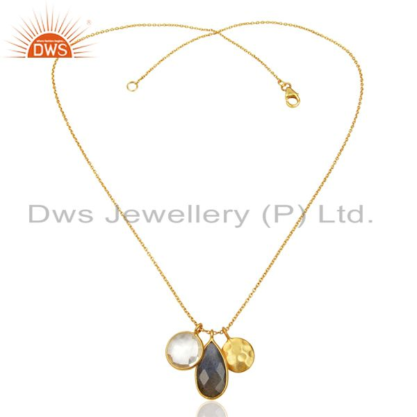 Exporter Labradorite Crystal Quartz 18K Gold Plated Sterling Silver Chain Pendant Jewelry