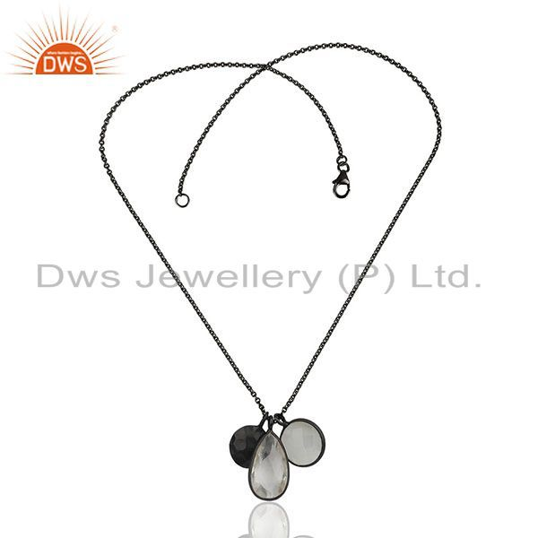 Exporter Oxidized Sterling Silver Crystal Quartz And Moonstone Pendant Charms Necklace