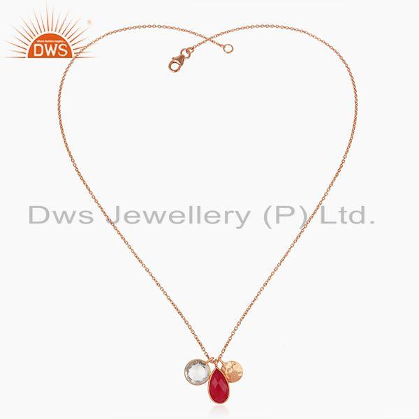 Exporter Pink Chalcedony and Crystal Quartz Rose Gold Plated 925 Silver Pendant Wholesale