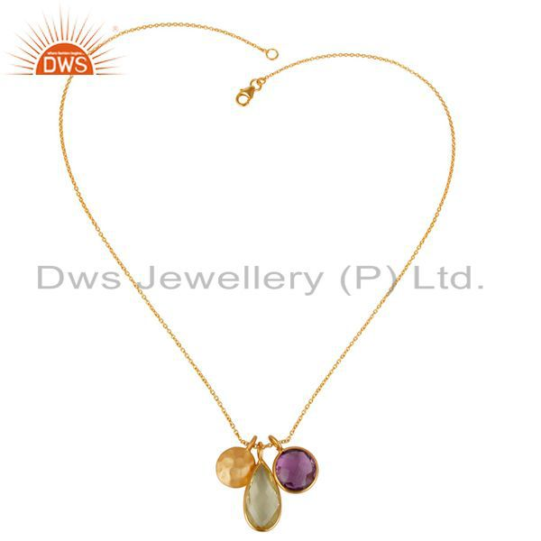Exporter 18K Yellow Gold Plated Sterling Silver Lemon Topaz And Amethyst Chain Necklace