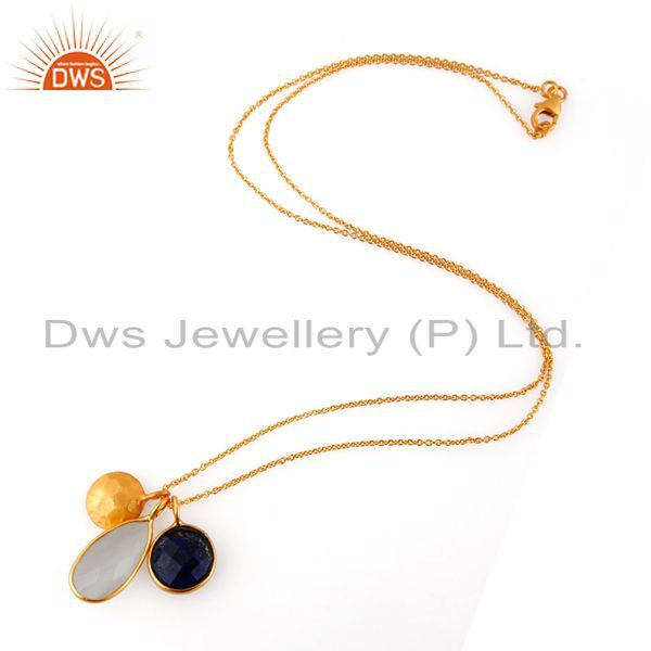 Suppliers 18K Gold Plated 925 Silver White Moonstone And Lapis Lazuli Pendant With Chain