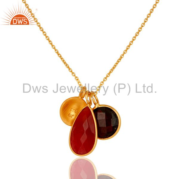 Wholesalers 18K Gold Plated Sterling Silver Garnet And Red Aventurine Pendant With Chain