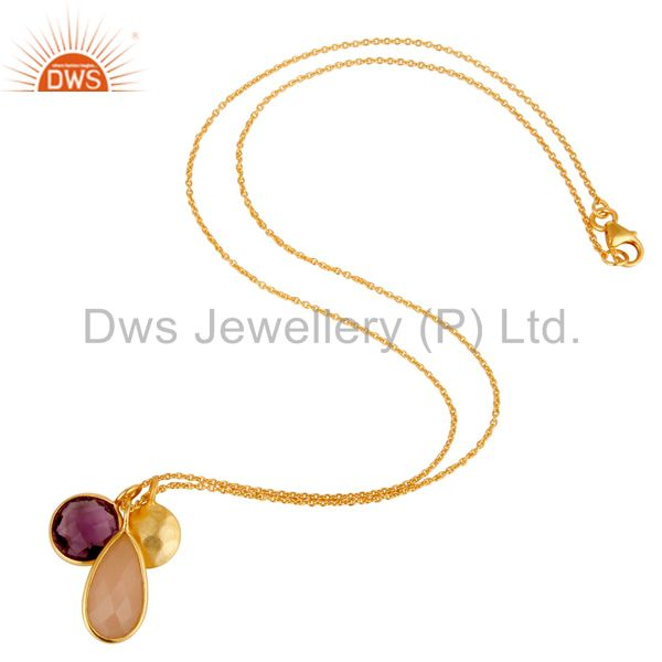 Wholesalers Amethyst & Chalcedony 18k Gold Plated Sterling Silver Bazel Set Chain Pendant