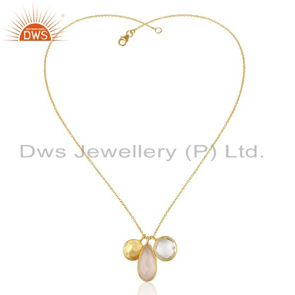 Exporter Crystal And Rose Chalcedony Triple Charm Gold Plated  Wholesale Silver Pendent