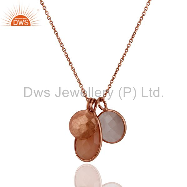 Suppliers 18K Rose Gold Plated Sterling Silver Chalcedony And White Moonstone Pendant