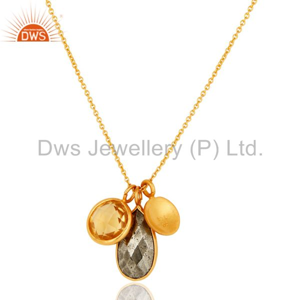 Wholesalers 18K Gold Plated Sterling Silver Bezel Set Citrine & Pyrite Pendant With Chain