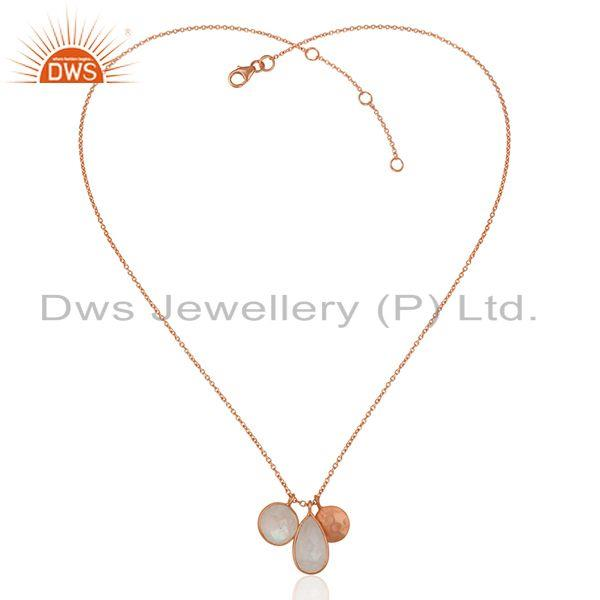 Exporter Rainbow Moonstone Rose Gold Plated 925 Silver Chain Pendant Manufacturer India
