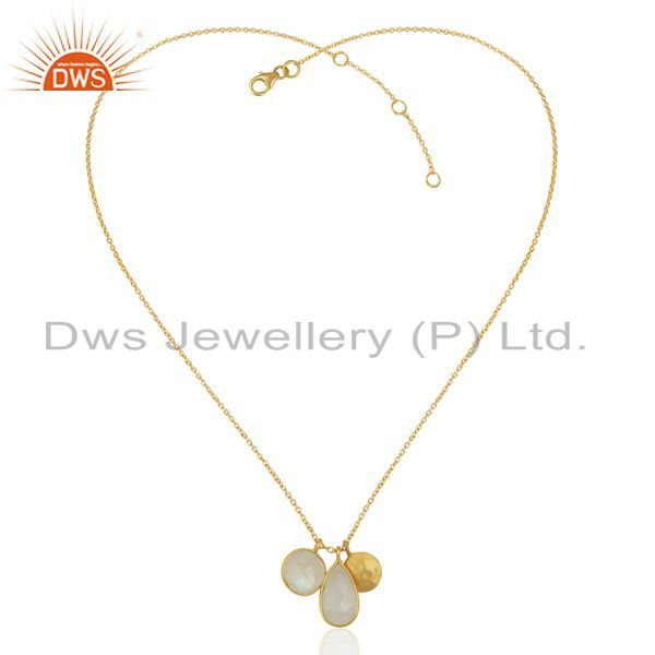 Exporter Rainbow Moonstone Multi Stone 14K Gold Plated Sterling Silver Chain Pendant