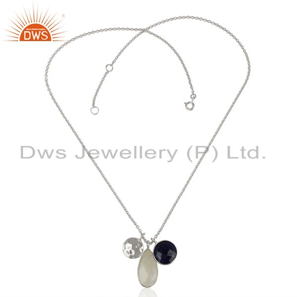 Exporter Rainbow Moonstone Multi Stone White Rhodium 925 Sterling Silver Chain Pendant