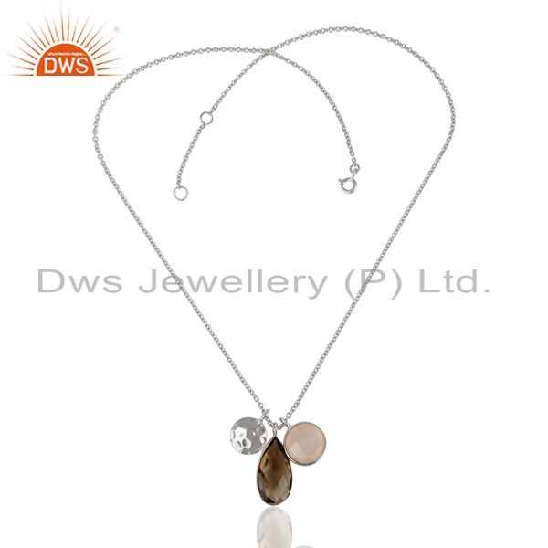 Exporter Rose and Smoky Quartz Gemstone 925 Sterling Silver Pendant Supplier