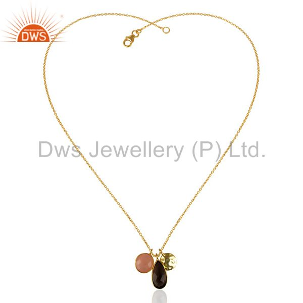 Exporter 14K Gold Plated 925 Silver Smokey Dyed Chalcedony Bezel Set Chain Pendant