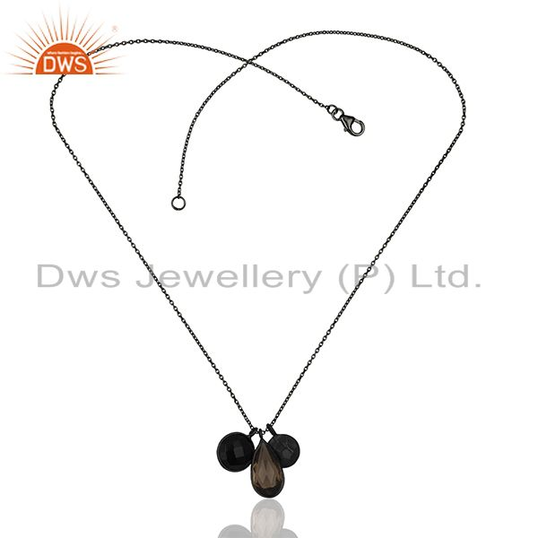 Exporter 925 Sterling Silver Black Rhodium Plated Chain Pendant Wholesale