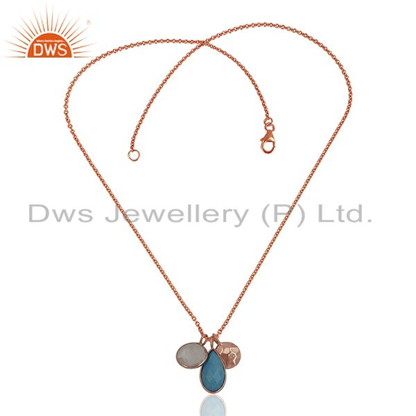 Exporter Solid Silver Rose Gold Plated Multi Gemstone Charm Pendant Wholesale