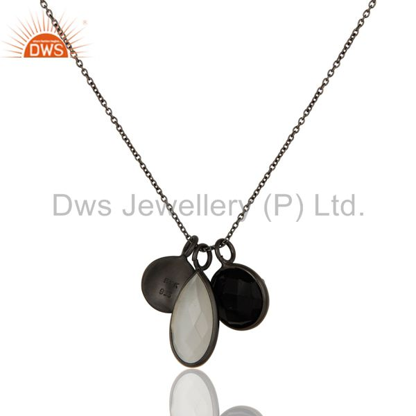 Wholesalers White Moonstone And Black Onyx Bezel Sterling Silver Pendant With 16