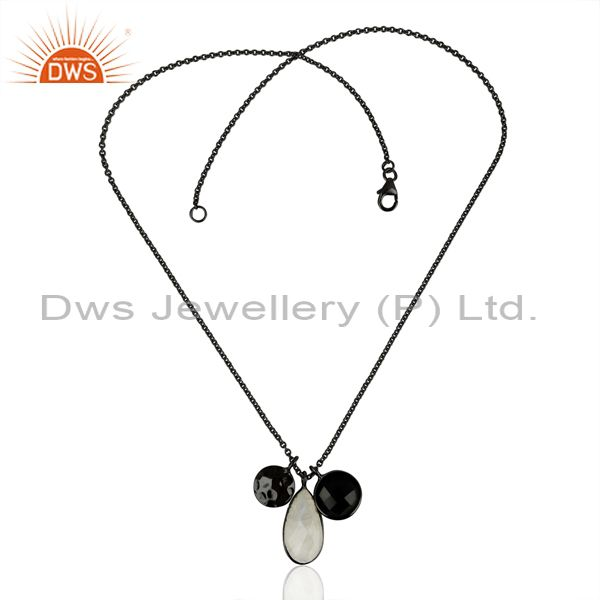 Exporter Rhodium Plated Silver Rainbow Moonstoen Black Onyx Gemstone Pendant